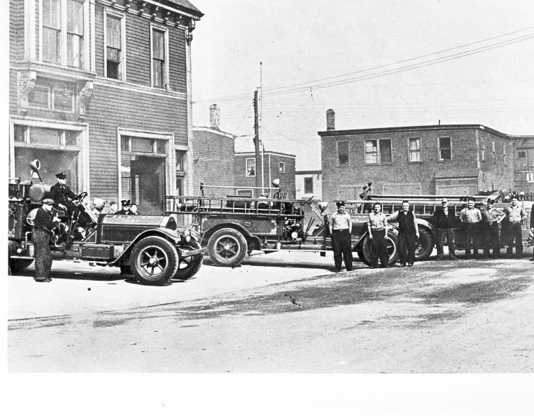 apparatus in front of old West st 1945